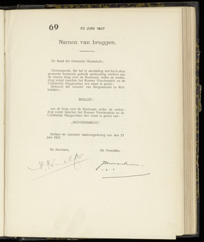 Raadsnotulen Heemstede 1927-06-23