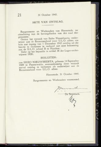 Raadsnotulen Heemstede 1945-10-31
