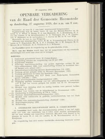 Raadsnotulen Heemstede 1959-08-27