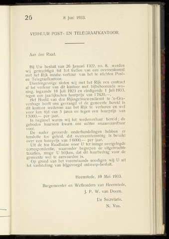 Raadsnotulen Heemstede 1933-06-08