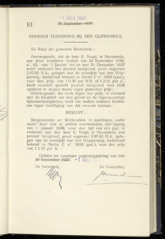 Raadsnotulen Heemstede 1937-10-01