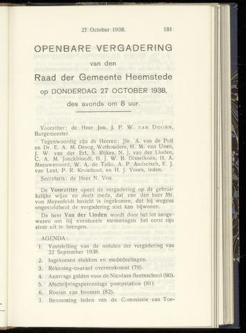 Raadsnotulen Heemstede 1938-10-27