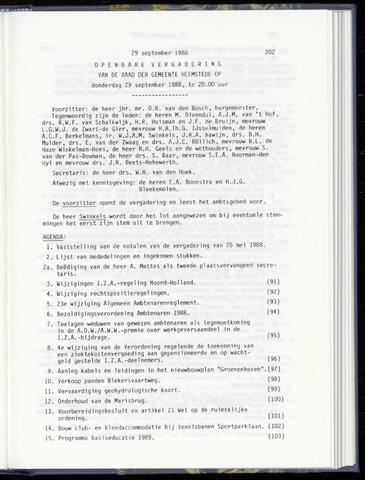 Raadsnotulen Heemstede 1988-09-29