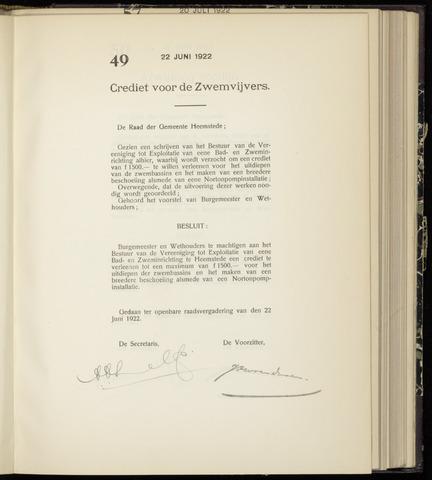 Raadsnotulen Heemstede 1922-06-22