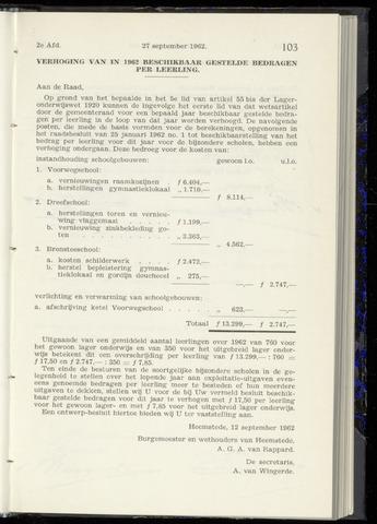 Raadsnotulen Heemstede 1962-09-27
