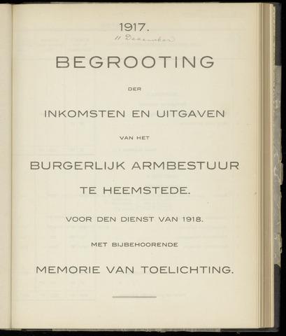 Raadsnotulen Heemstede 1917-12-11