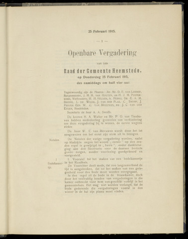 Raadsnotulen Heemstede 1915-02-25