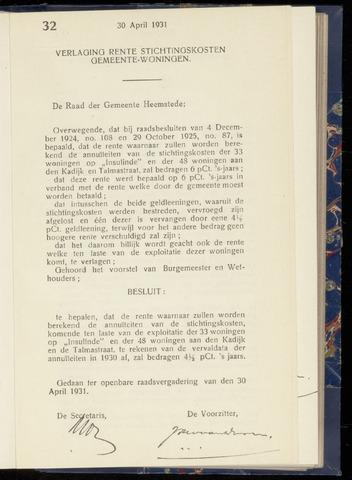 Raadsnotulen Heemstede 1931-04-30