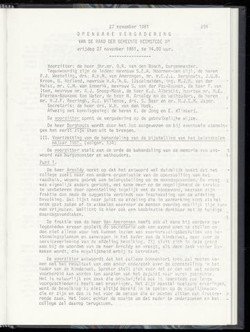 Raadsnotulen Heemstede 1981-11-27
