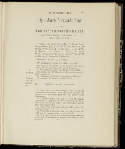 Raadsnotulen Heemstede 1922-02-16