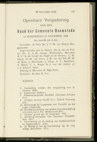 Raadsnotulen Heemstede 1929-11-28