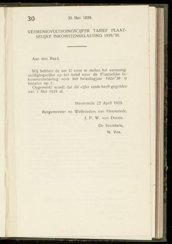 Raadsnotulen Heemstede 1929-05-30