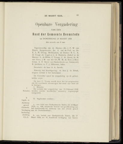 Raadsnotulen Heemstede 1926-03-25