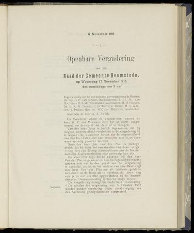 Raadsnotulen Heemstede 1915-11-17