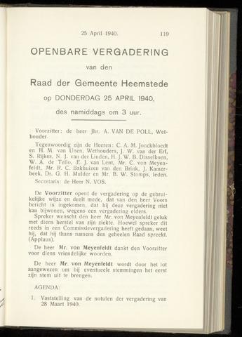 Raadsnotulen Heemstede 1940-04-25