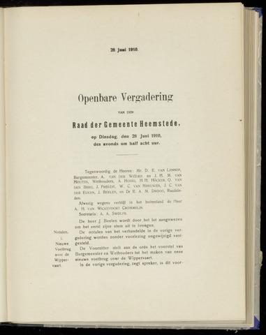Raadsnotulen Heemstede 1910-06-28