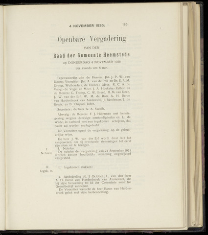 Raadsnotulen Heemstede 1926-11-04
