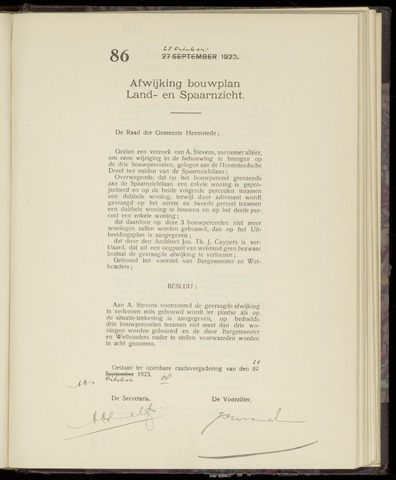 Raadsnotulen Heemstede 1923-10-25