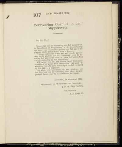 Raadsnotulen Heemstede 1922-11-23