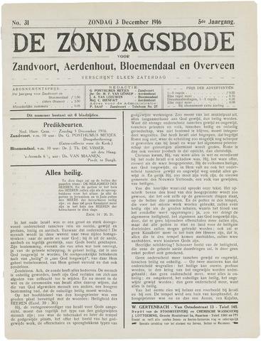 De Zondagsbode voor Zandvoort en Aerdenhout 1916-12-03