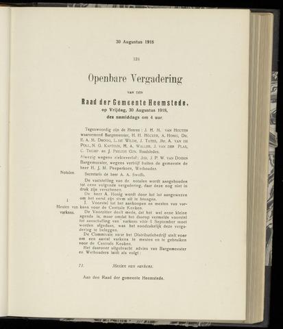 Raadsnotulen Heemstede 1918-08-30