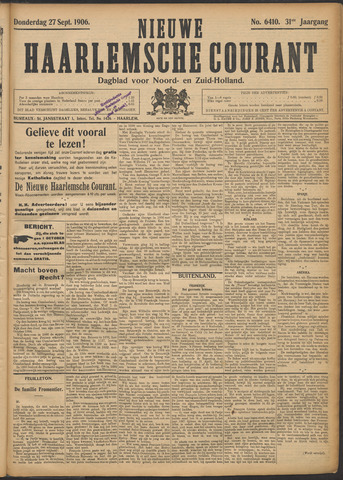 Nieuwe Haarlemsche Courant 1906-09-27