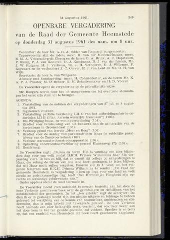 Raadsnotulen Heemstede 1961-08-31