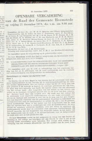 Raadsnotulen Heemstede 1973-12-21