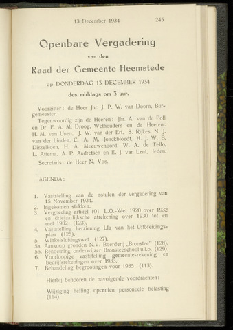 Raadsnotulen Heemstede 1934-12-13