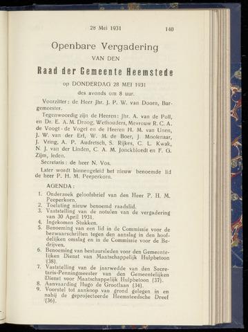 Raadsnotulen Heemstede 1931-05-28