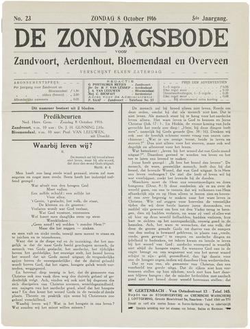 De Zondagsbode voor Zandvoort en Aerdenhout 1916-10-08