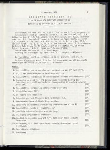 Raadsnotulen Heemstede 1974-10-31