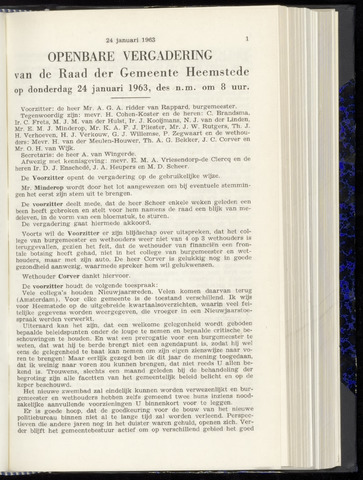 Raadsnotulen Heemstede 1963-01-24