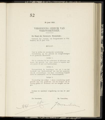 Raadsnotulen Heemstede 1918-06-28