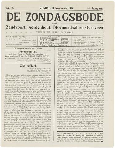 De Zondagsbode voor Zandvoort en Aerdenhout 1915-11-14