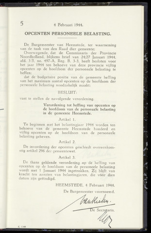 Raadsnotulen Heemstede 1944-02-04