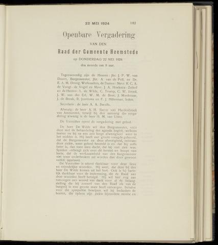 Raadsnotulen Heemstede 1924-05-22