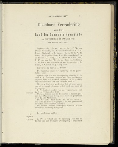 Raadsnotulen Heemstede 1927-01-27