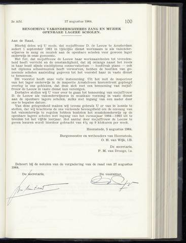 Raadsnotulen Heemstede 1964-08-27