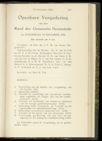 Raadsnotulen Heemstede 1934-11-15