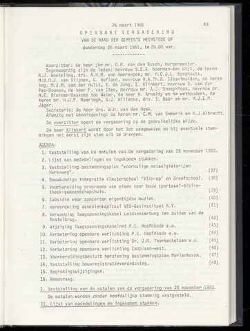 Raadsnotulen Heemstede 1981-03-26