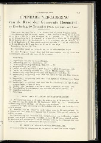 Raadsnotulen Heemstede 1953-11-19