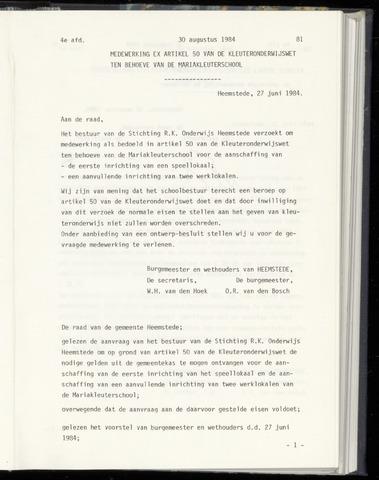 Raadsnotulen Heemstede 1984-08-30