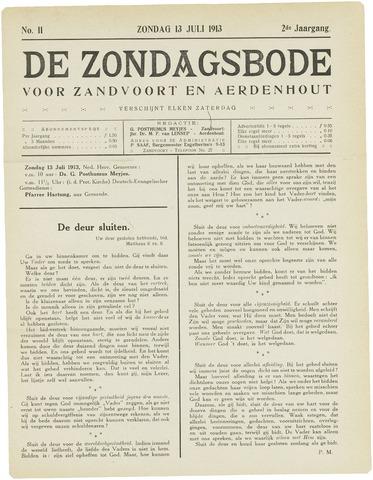 De Zondagsbode voor Zandvoort en Aerdenhout 1913-07-13