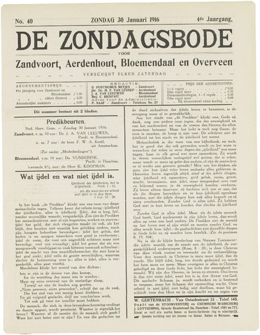 De Zondagsbode voor Zandvoort en Aerdenhout 1916-01-30