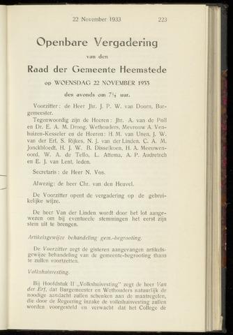 Raadsnotulen Heemstede 1933-11-22