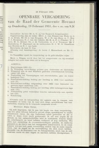 Raadsnotulen Heemstede 1953-02-19