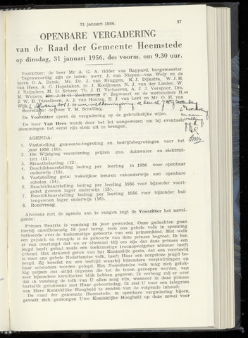 Raadsnotulen Heemstede 1956-01-31