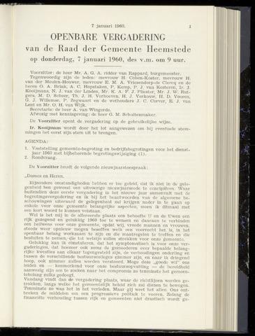 Raadsnotulen Heemstede 1960-01-07