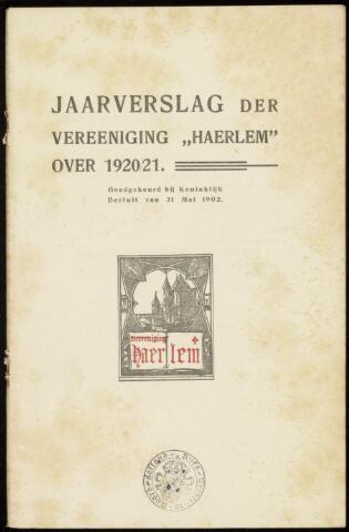 Jaarverslagen en Jaarboeken Vereniging Haerlem 1920